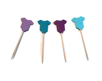 24 purple and teal baby onesie toothpicks, baby shower, baby girl shower, appetizer picks, food picks, cupcake toppers