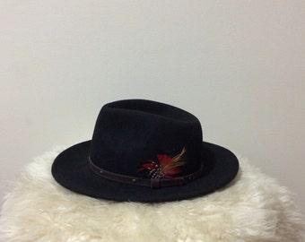 Black vintage wool cowboy hat