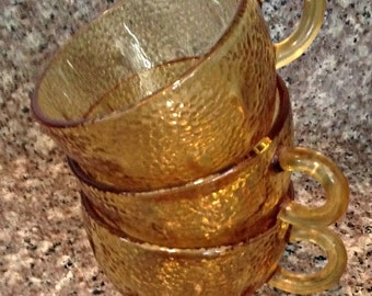 Set of 8 Amber Glass Punch/Drink Cups