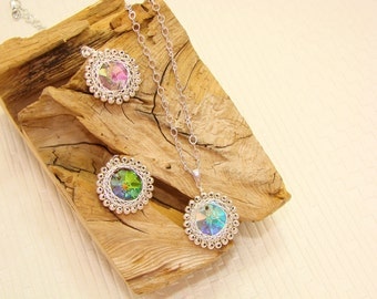 Wire Wrapped 3Color Crystal Necklace, Purple,green,white,Christmas Gift ,Jewelry,gift,under25