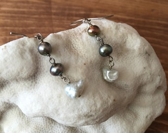 PRETTY PEARLS - Pearl and Sterling Silver Dangles