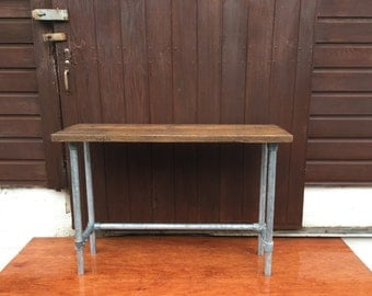 Industrial Console Table. Reclaimed Timber & Steel