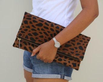 Leopard fold over clutch, Stone leopard, leopard print leather clutch, leopard calf zipper clutch, leather clutch, cow hide leather clutch