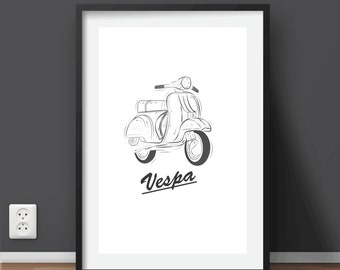 "Vintage Vespa Printable Art | Large Print 20"" x 28"" inches"