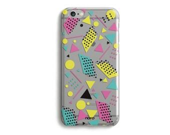 NOKO Clear Transparent iPhone 6 Case, Memphis iPhone 6s case, iPhone 6 Plus Case, Colourful iPhone 6s plus case