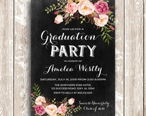 Floral graduation invitation printable, chalkboard graduation party invites, high school college grad invitations DIY digital files
