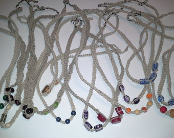 handmade knotted hemp necklaces