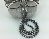 Hematite Buddha Glasses Chain Silver Budda Unisex Spectacles Holder Sunglasses Carrier Glossy Grey Lanyard