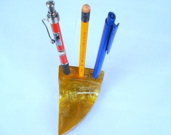 Vintage Lava Catalin Bakelite Pen and Pencil Holder/ Old Yellow Catalin Holder/Collectible/1970s