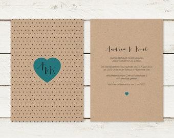 Wedding invitation | Kraft paper | Heart | Dots