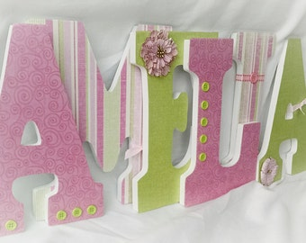 Nursery letters girl, custom wall letters, wooden letters for nursery, hanging letters for nursery, girls room decor, pink and green decor