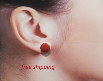 Red coral stud earrings; 92.5 sterling silver in 7 mm or 9 mm