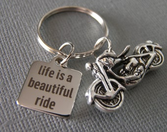 Large Motorcycle Keychain / Life is a Beautiful Ride Keychain / Bike Keychain / Boyfriend Keychain / Husband keychain / Girlfriend Keychain