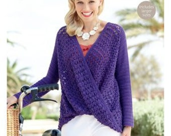 Ladies sweater crochet pattern, sizes small, medium, large and extra large, made with 4 ply cotton