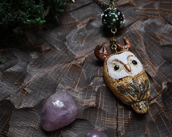 Owl Necklace, Barn Owl Pendant, Polymer Clay Owl Necklace, Cute Owl Pendant, PaganOwl Necklace