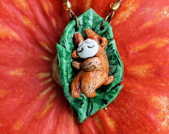 Little Orange Fairy on the Leaf Polymer Clay Cute Magic Necklace