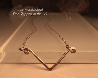 Chevron Necklace/Gold Chevron Necklace/Free Shipping in the US.