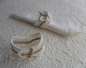 Crochet napkin rings white and gold,set of two pieces