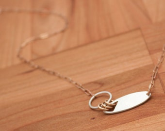 Oval Asymmetric Necklace, Silver and Bronze Necklace, Small Statement Necklace