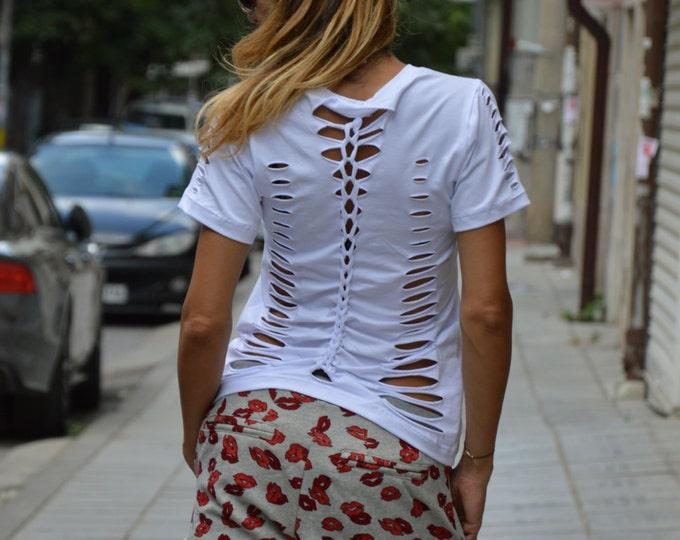 White Cotton Loose Blouse, Oversize White Top, Plus Size Clothing, Extravagant Tshirt, Maxi Top By SSDfashion