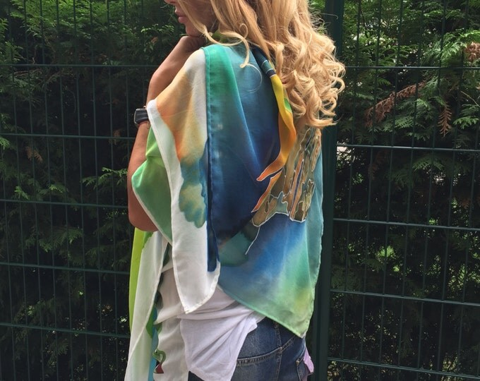 Hand Painted Maxi Scarf, Bohemian Painted Bird Shawl, Women's Fashion Accessory, Extravagant Scarf By SSDfashion