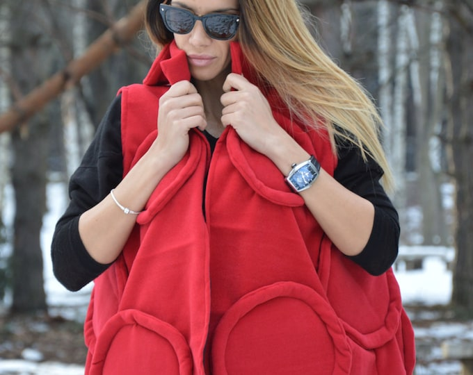 Winter Red Vest, Wool Cashmere Coat, Maxi Sleeveless Vest, Asymmetric Coat, Extravagant Vest, Woman's Coat by SSDfashion