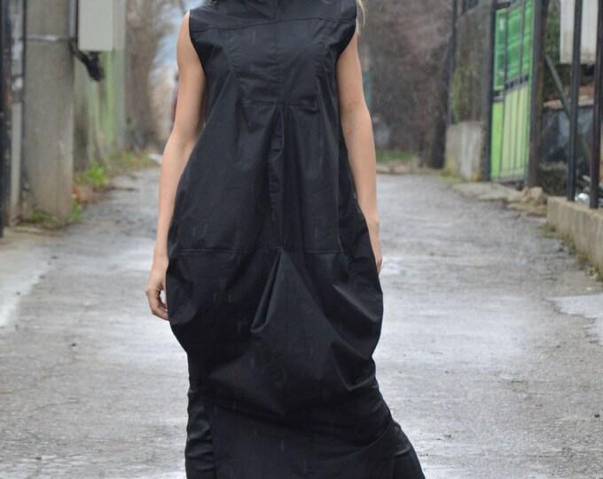 Extravagant Cotton Dress, Plus Size Kaftan, Loose Sexy Casual Dress, Sleeveless Zipped Dress by SSDfashion