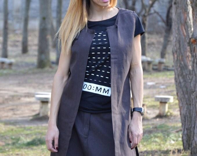 Brown Linen Long Vest, Plus Size Sleeveless Vest, Extravagant Asymmetric Vest, Loose Elegant Vest By SSDfashion