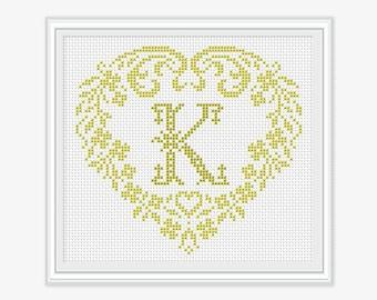 Personalized Family Monogram - Cross stitch pattern - Embroidery - Wedding Gift - Cross stitch Monogram - PDF - INSTANT DOWNLOAD