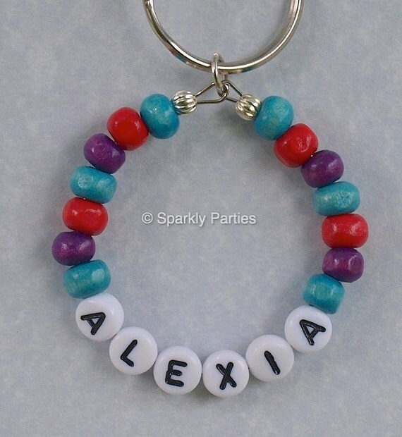 Book Bag Tags - beaded keyrings - Personalised Name Keyrings