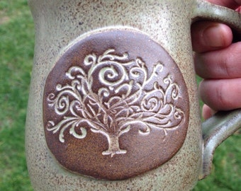 Wheel Thrown Green Tree of Life Mug