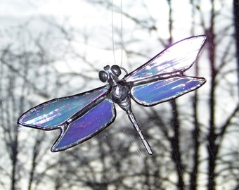 Irridescent Dragonfly Stained Glass Suncatcher
