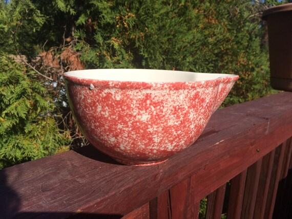 Rare Saratoga Sponge ware Batter Bowl  -  Vintage