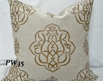 VERN YIP - Furrow / Umber Decorative Throw Pillow Cover / Both Sides / Linen / 20 x 20/ Both Sides