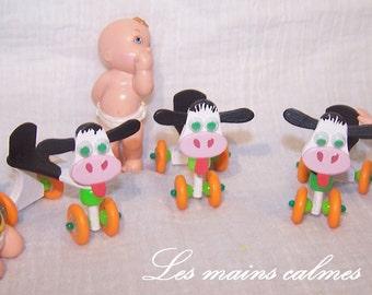 Pull along cow Miniature 10eme and 12eme