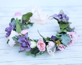 Pink and lavender flower crown, Flower headband, headband, wedding flower crown, bridal flower crown, bohemian flower crown, floral crown