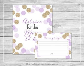 Purple and Gold Baby Shower Advice for Mom Cards - Printable Baby Shower Advice for Mom Cards - Purple and Gold Glitter Baby Shower - SP109