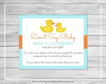 Rubber Ducky Baby Shower Don't Say Baby Game - Printable Baby Shower Don't Say Baby Game - Rubber Duck Baby Shower - Don't Say Baby - SP122