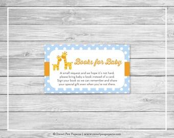Giraffe Baby Shower Book Instead of Card Insert - Printable Baby Shower Books for Baby - Blue Giraffe Baby Shower - Books for Baby - SP130