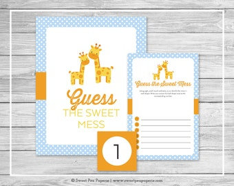 Giraffe Baby Shower Guess The Mess Game - Printable Baby Shower Guess Sweet Mess Game - Blue Giraffe Baby Shower - Diaper Game - SP130