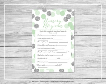 Mint and Silver Baby Shower Nursery Rhyme Game - Printable Baby Shower Nursery Rhyme Game - Mint and Silver Glitter Baby Shower - SP125