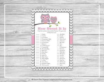 Owl Baby Shower How Sweet It Is Game - Printable Baby Shower How Sweet It Is Game - Pink Owl Baby Shower - How Sweet Shower Game - SP134
