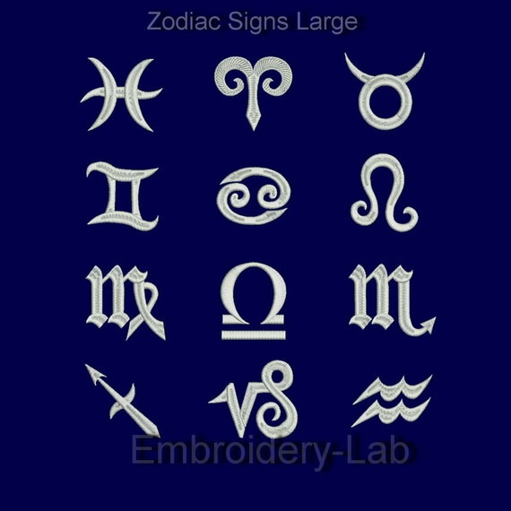 Zodiac signs machine embroidery designs set from