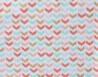 Arrow Fabric, Broken Chevron, Coral Mint Gold Metallic, by the yard fabric, mod fabric, fat quarter, modern arrows