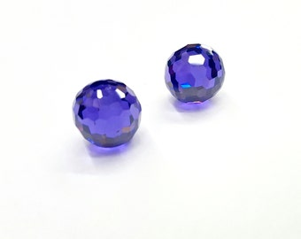 2 Pieces Tanzanite Cubic Zirconia Balls, Honeycomb Faceted, Round All Over, Vintage, 12mm