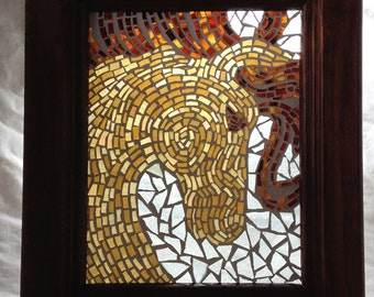 Horse Mosaic in Wooden Frame