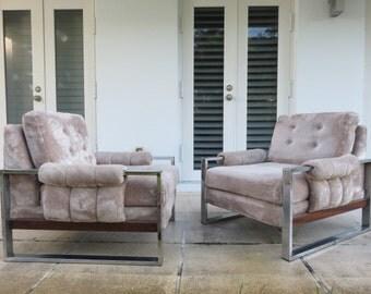 Paire de rares Adrian Pearsall Mid-Century Modern Chrome et bois chaises, tout état d'origine.