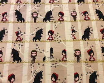 Red Riding Hood Wolf  Limited Edition Custom printed fabric Cotton Lycra 95/5