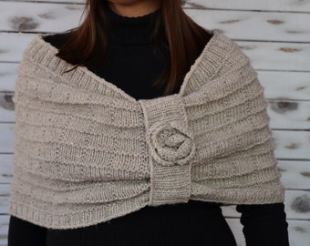 Knitted Capelet, body wrap, oversized cowl, shoulder warmer, oatmeal capelet shrug, knit cape, wrap shawl, hand knitted poncho, neckwarmer