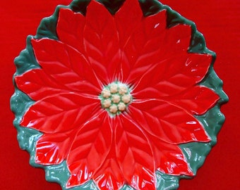 CHRISTMAS Ceramic POINSETTIA BOWL / Dish Hand Painted Vintage 1964 Bright Red & Green